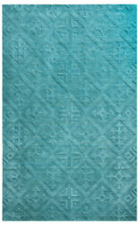 Rizzy Rugs Blue Faded Distressed Trellis Contemporary Area Rug Solid Tc8272