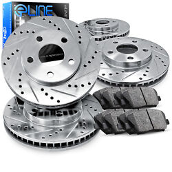 Front,Rear Eline Series Silver Drilled Slotted Brake Rotors + Ceramic Pads A2440