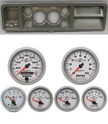 73-79 Ford Truck Silver Dash Carrier W/ Auto Meter 3-3/8 Ultra-lite Ii Gauges