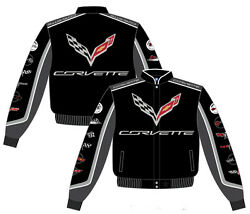 Chevy Corvette Jacket Mens Collage Black Twill C7 Embroidered Logos Jh Design