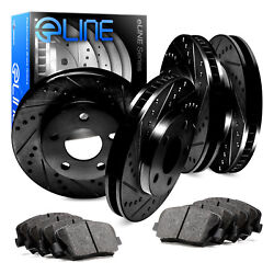 Front,Rear Eline Series Black Drilled  Slotted Brake Rotors + Ceramic Pads A478