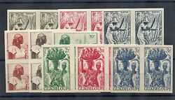 Guadeloupe Sc 189-205 Impyt 197-213 Impvf Nh Set In Imperf Pairs 600