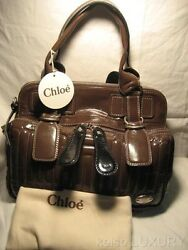 2100 New Large Bay Brown Quilted Patent Leather Handbag Satchel Purse Tag