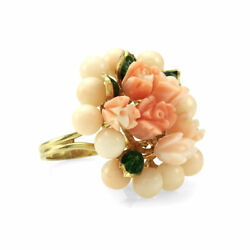 Large Coral Bead And Carved Flower Cluster Ring In 14k Yellow Gold
