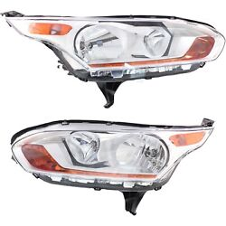 Headlight Set For 2014-2017 Ford Transit Connect Left And Right With Bulb