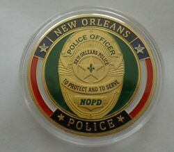 New Orleans Police   24k Gold Plated 40 Mm Challenge Coin