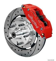Wilwood 64-72 Chevelle A-body Front Disc Brake Kit 12 Drilled Rotor Red Caliper
