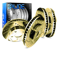 For 2000 Subaru Legacy Front Rear eLine Gold Drill Slot Brake Rotors