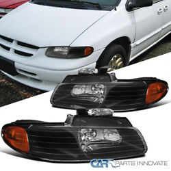 For 96-00 Dodge Caravan Town And Country Voyager Black Headlights Lamps Left+right