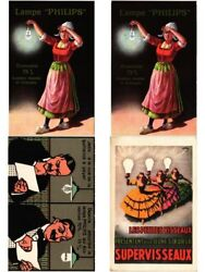 Advertising Philips Lamps And Light And Electronic Technics 4 Vintage Postcards