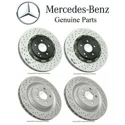 For Mb R171 W209 Set Of 2 Front And Rear Disc Brake Rotors Kit Vented Slotted Oe