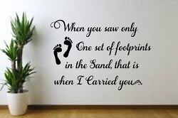 Footprints in the Sand w print Vinyl decal for Family Room Wall Bedroom Living