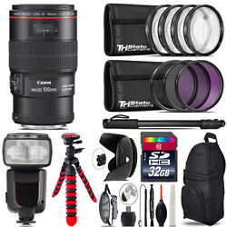 Canon Ef 100mm 2.8l Is Usm Lens + Professional Flash And More - 32gb Accessory Kit