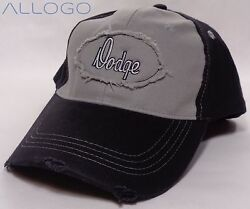 Hat Cap Dodge Text Distressed Patch Grey Black SLW