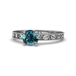 Blue Diamond Heart Embossed Solitaire Ring 1.00 Ct In 14k White Gold Jp119498