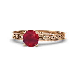Ruby Heart Embossed Solitaire Engagement Ring 0.95 Carat 14k Rose Gold Jp119491