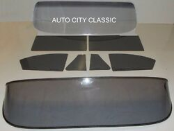 53 54 Chev 2 Door Sedan Windshield Vent Door Quarter Rear Back Glass Set Grey