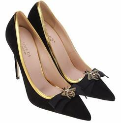 NEW GUCCI LADIES BLACK SUEDE BEE EMBROIDER CLASSIC PUMPS SHOES 38.58.5