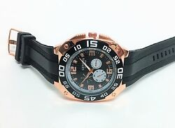 New Geneva Rose Gold Tone, Black Silicone Band,large Round Dial Watch