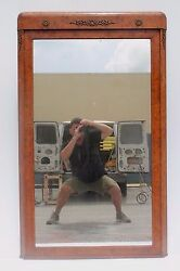 C1890 French Empire Style Antique Wall Mirror - Thick Exotic Burl Amboyna Frame