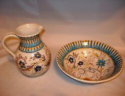 Excellent Porcelain Pitcher And Wash Basin Bowl// Made In Italy // Kc / 37a