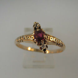 Vintage Mid - Late 1800's 14k Rose Gold Ruby Ring With Rose Cut Diamonds Ring Si