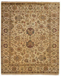 Kalaty Ivory Bordered Rounded Bulbs Traditional-European Area Rug Floral JP-434