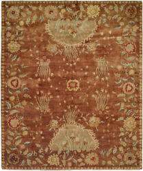 Kalaty Red Ringed Blossoms Bordered Vines Transitional Area Rug Floral Cb-904