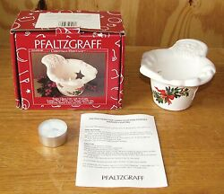 Pfaltzgraff Christmas Heritage Santa Claus Lite With Tea Light Candle Holder NEW