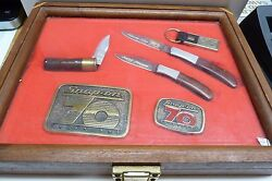 Vtg 6pc Snap-on Kershaw Knives And Belt Buckle Collectors Set In Display Case