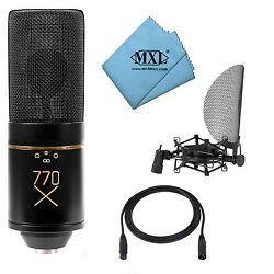 MXL 770X Multi-Pattern Condenser Microphone Package 20' XLR Shockmount Cloth