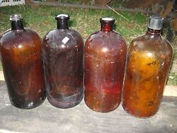 Tall 4 Pcs Vintage Used Empty Brown Bottle More Than One Gallon Medicine Bottles
