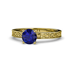 Blue Sapphire Scroll Solitaire Engagement Ring 0.95 Ct 14k Yellow Gold Jp120401