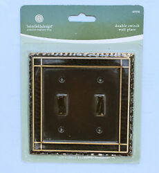 Oil Rubbed Bronze Brass Hammered Metal Double Light Switch WallPlate Cover 65556