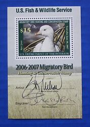 U.s. Rw73bv 2006 Federal Duck Stamp Minisheet Artist And Engraver Signed Lot 2