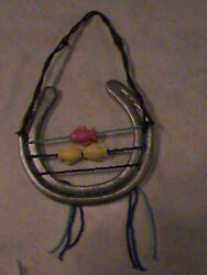 Used Horse Shoe And Antique Tx Barb Wire, Hand Beaded And Decorated With Fish