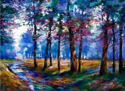Afternoon Forest Original Acrylic By Michael Schofield 24x36 Make Offer