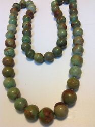 Antique Chinese Round Natural Turquoise Beads Necklace Original Tribal M1571