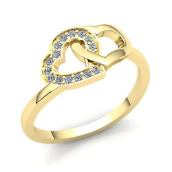 1.5carat Round Diamond Womens Fancy Intertwined Hearts Band Ring Solid 14k Gold