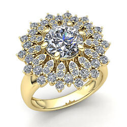 Natural 0.5ct Round Cut Diamond Womens Flower Cluster Cocktail Ring 14k Gold