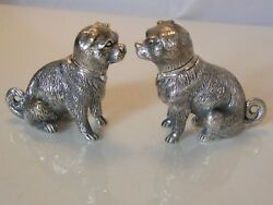 Pair Of Novelty Solid Silver Dog Salt And Peppers