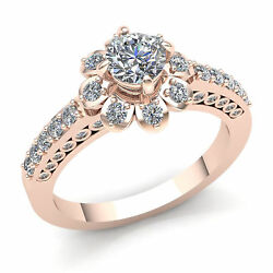 Natural 5ct Round Diamond Ladies Flower Petal Engagement Accent Ring 14k Gold