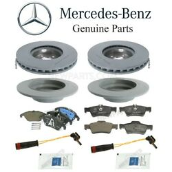 For Mercedes W212 Turbo Front And Rear Brake Pad Sets And 2 Rotors Sensors Lube Kit
