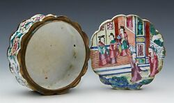 Antique Chinese Canton Enamel Lidded Box With Figures C.180