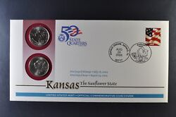 2005 Kansas Pandd State Quarter First Day Coin Cover + 37 Cent Stamp-sealed