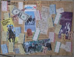 1974 Horse Racing Collage Homemade With 27 Tickets, 4 Program Covers, Etc.