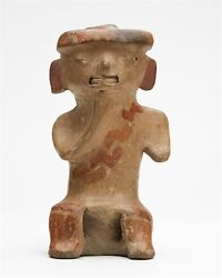Mexican Pre Columbian Jamacoaque Pottery Seated Figure