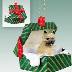 CAIRN TERRIER Red Dog Green Gift Box Holiday Christmas ORNAMENT