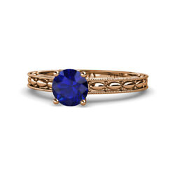 Blue Sapphire Solitaire Engagement Ring 0.95 Ct In 14k Rose Gold Jp120563