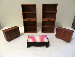 Vintage Lot Of 5 Danish Modern Mid Century Dollhouse Furniture Bookcases Bench